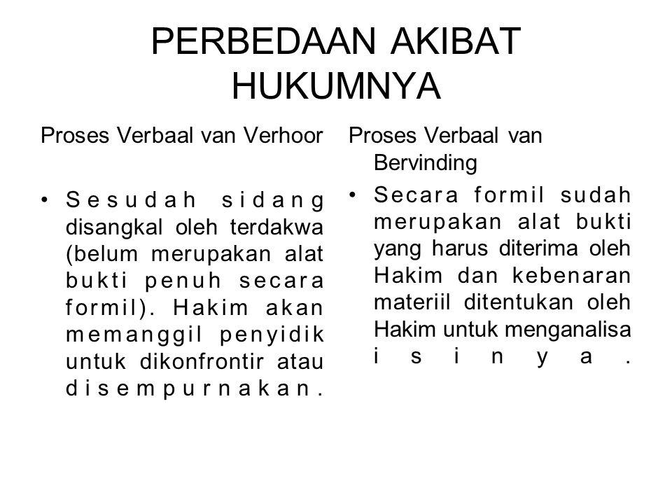 PERBEDAAN AKIBAT HUKUMNYA Proses Verbaal van Verhoor Sesudah sidang disangkal oleh terdakwa (belum merupakan alat bukti penuh secara formil).