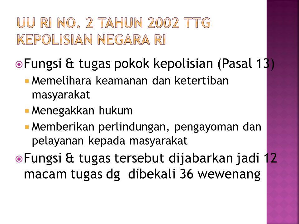  Fungsi & tugas pokok kepolisian (Pasal 13)  Memelihara keamanan dan ketertiban masyarakat  Menegakkan hukum  Memberikan perlindungan, pengayoman