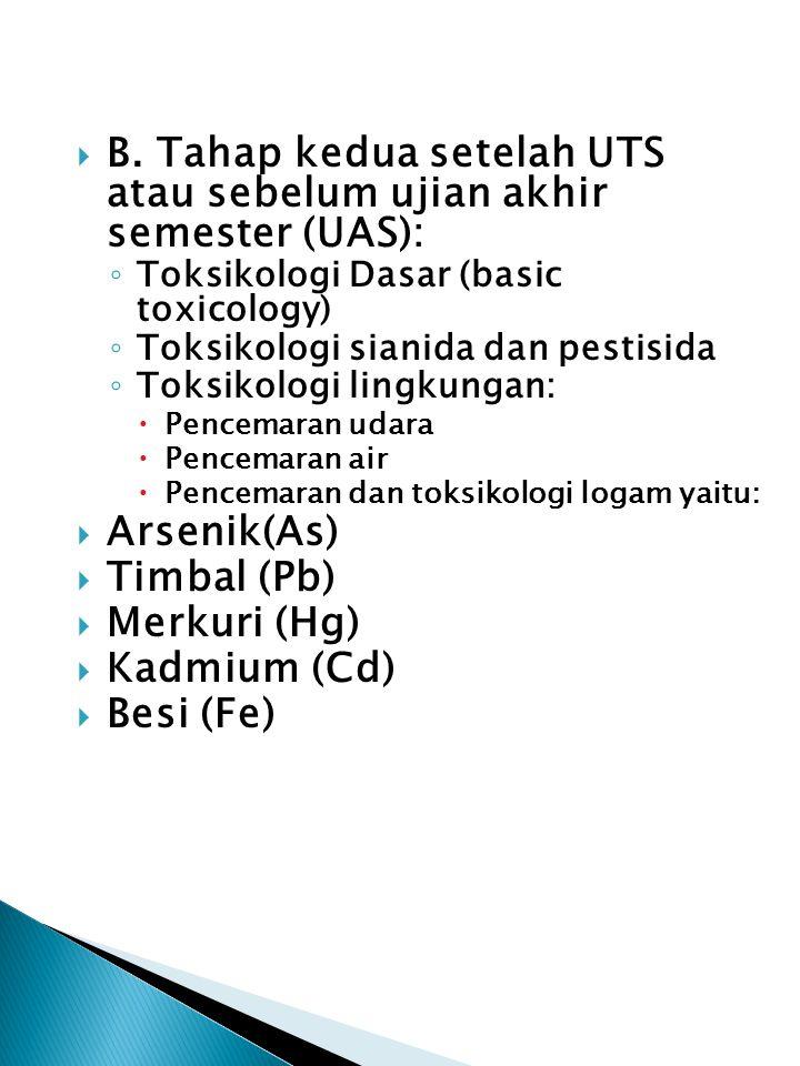  B. Tahap kedua setelah UTS atau sebelum ujian akhir semester (UAS): ◦ Toksikologi Dasar (basic toxicology) ◦ Toksikologi sianida dan pestisida ◦ Tok