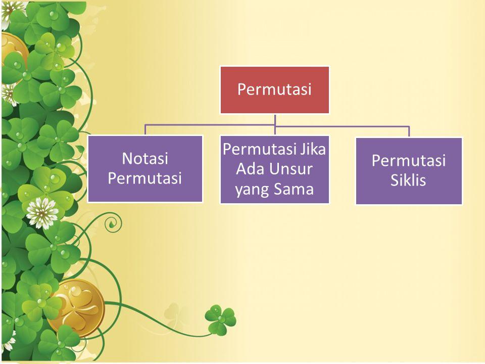 Permutasi Notasi Permutasi Permutasi Jika Ada Unsur yang Sama Permutasi Siklis