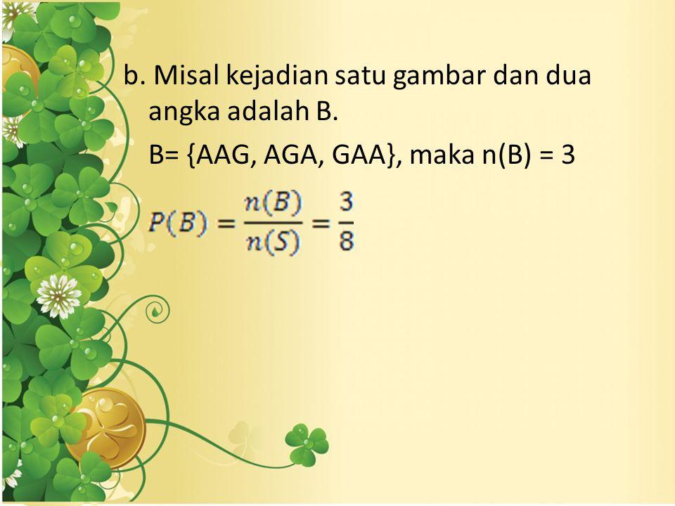 b. Misal kejadian satu gambar dan dua angka adalah B. B= {AAG, AGA, GAA}, maka n(B) = 3