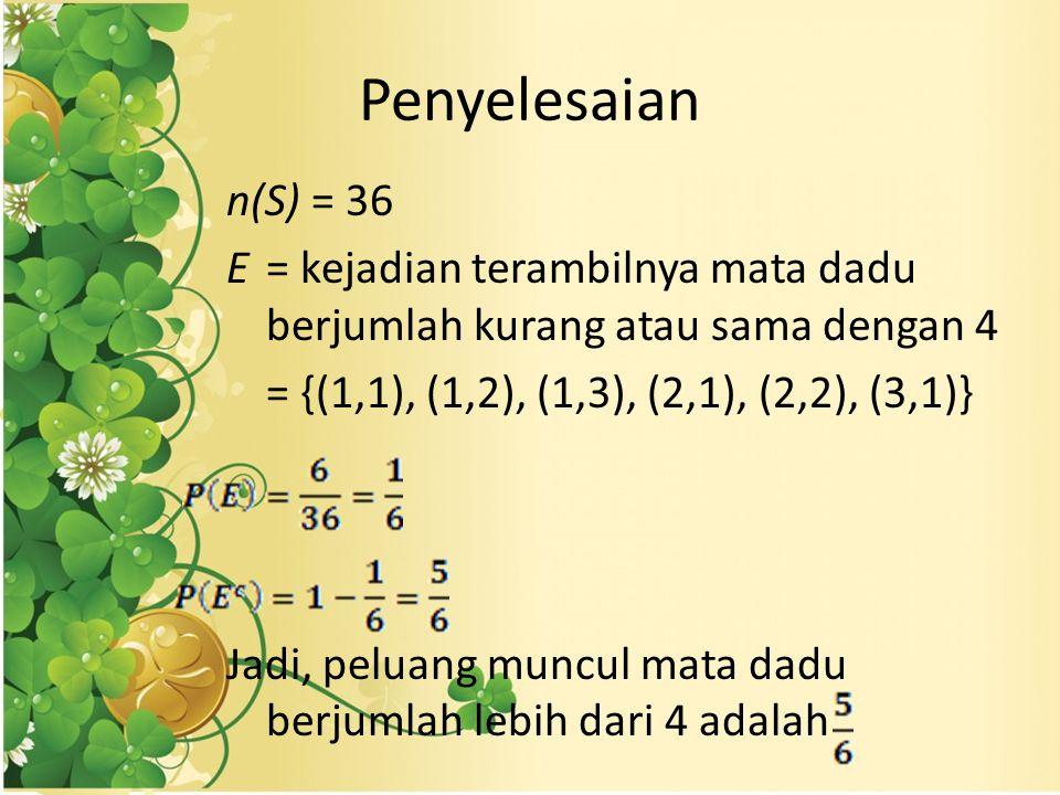 Penyelesaian n(S) = 36 E= kejadian terambilnya mata dadu berjumlah kurang atau sama dengan 4 = {(1,1), (1,2), (1,3), (2,1), (2,2), (3,1)} Jadi, peluang muncul mata dadu berjumlah lebih dari 4 adalah