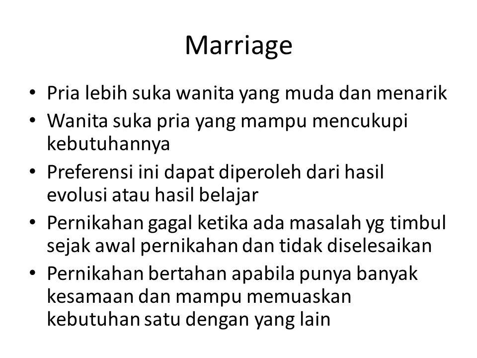 Marriage Pria lebih suka wanita yang muda dan menarik Wanita suka pria yang mampu mencukupi kebutuhannya Preferensi ini dapat diperoleh dari hasil evo