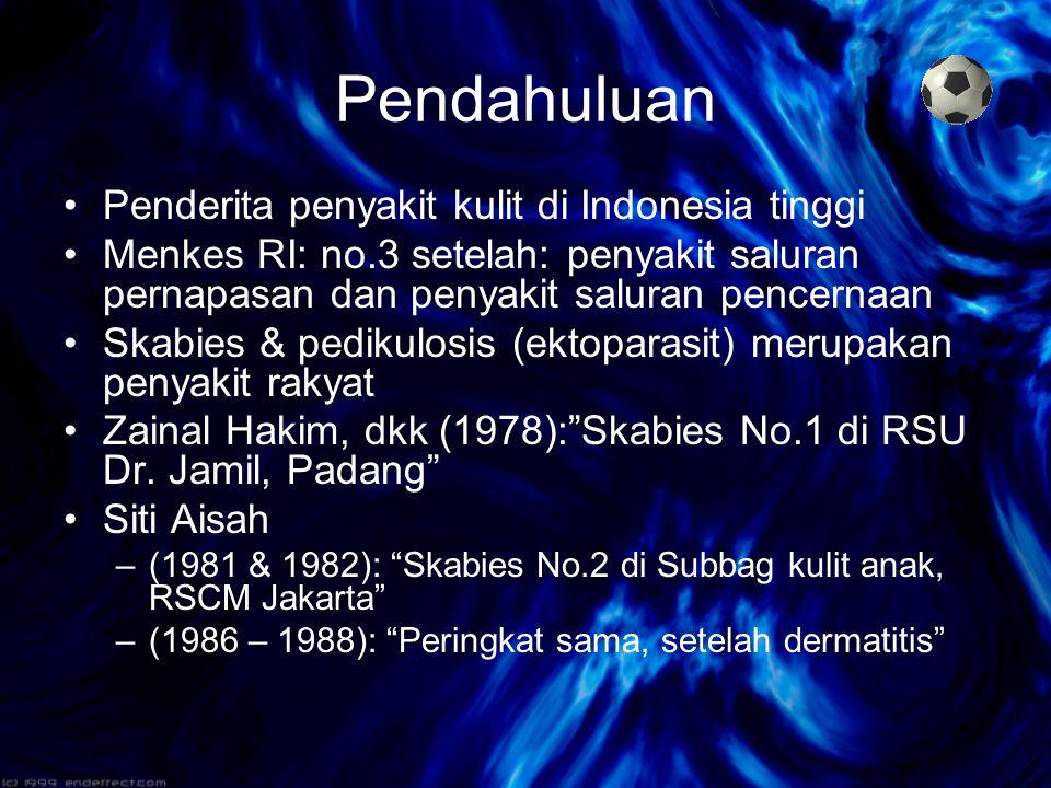 Pendahuluan Penderita penyakit kulit di Indonesia tinggi Menkes RI: no.3 setelah: penyakit saluran pernapasan dan penyakit saluran pencernaan Skabies & pedikulosis (ektoparasit) merupakan penyakit rakyat Zainal Hakim, dkk (1978): Skabies No.1 di RSU Dr.