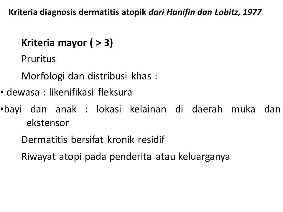 Kriteria diagnosis dermatitis atopik dari Hanifin dan Lobitz, 1977 Kriteria mayor ( > 3) Pruritus Morfologi dan distribusi khas : dewasa : likenifikas