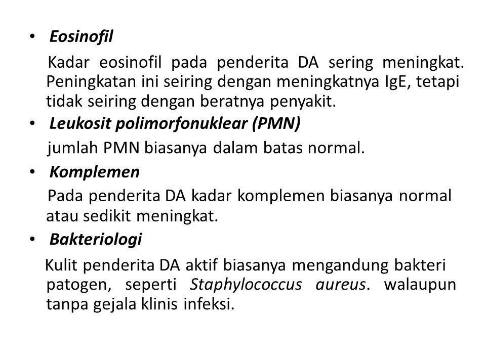 Eosinofil Kadar eosinofil pada penderita DA sering meningkat. Peningkatan ini seiring dengan meningkatnya IgE, tetapi tidak seiring dengan beratnya pe