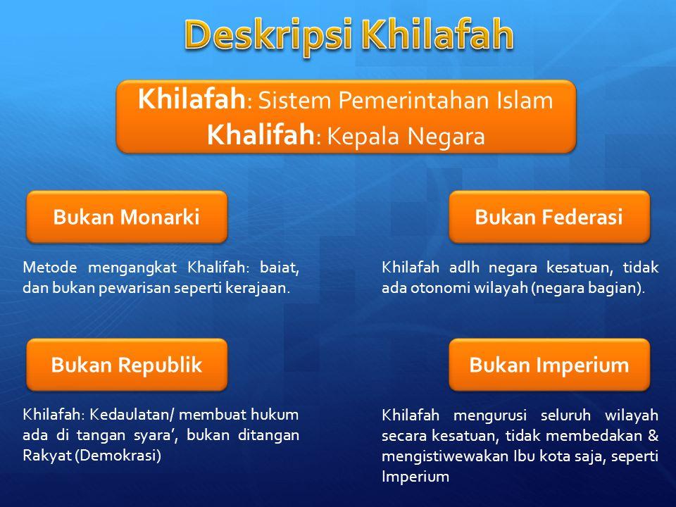 Khilafah : Sistem Pemerintahan Islam Khalifah : Kepala Negara Khilafah : Sistem Pemerintahan Islam Khalifah : Kepala Negara Bukan Monarki Bukan Republ