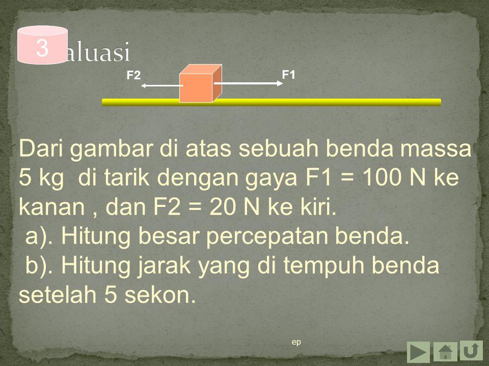 ep Dari gambar di atas sebuah benda massa 5 kg di tarik dengan gaya F1 = 100 N ke kanan, dan F2 = 20 N ke kiri. a). Hitung besar percepatan benda. b).