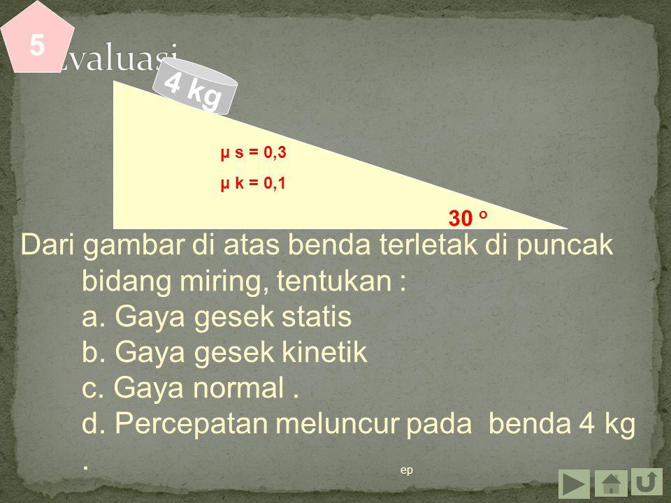 ep Dari gambar di atas benda terletak di puncak bidang miring, tentukan : a. Gaya gesek statis b. Gaya gesek kinetik c. Gaya normal. d. Percepatan mel