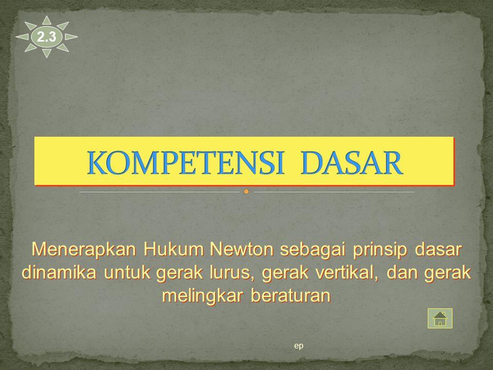 Menerapkan Hukum Newton sebagai prinsip dasar dinamika untuk gerak lurus, gerak vertikal, dan gerak melingkar beraturan 2.3