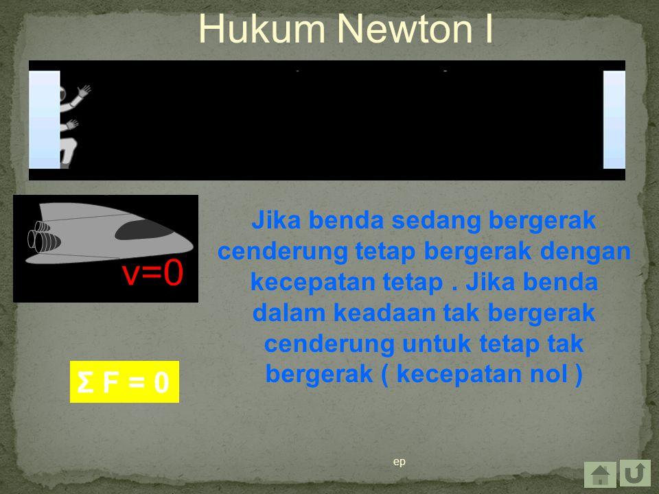 ep Hukum Newton I Jika benda sedang bergerak cenderung tetap bergerak dengan kecepatan tetap. Jika benda dalam keadaan tak bergerak cenderung untuk te