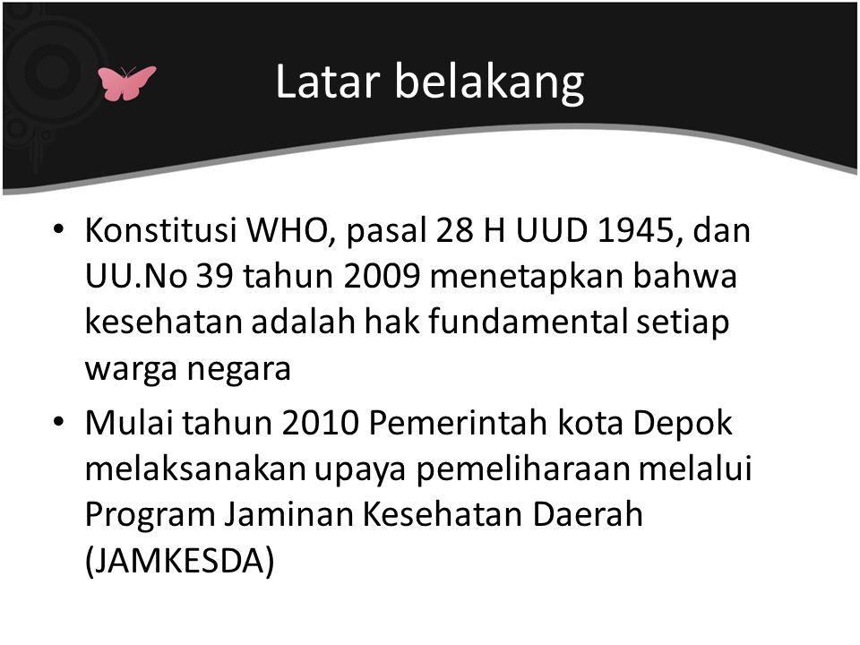 Latar belakang Konstitusi WHO, pasal 28 H UUD 1945, dan UU.No 39 tahun 2009 menetapkan bahwa kesehatan adalah hak fundamental setiap warga negara Mula