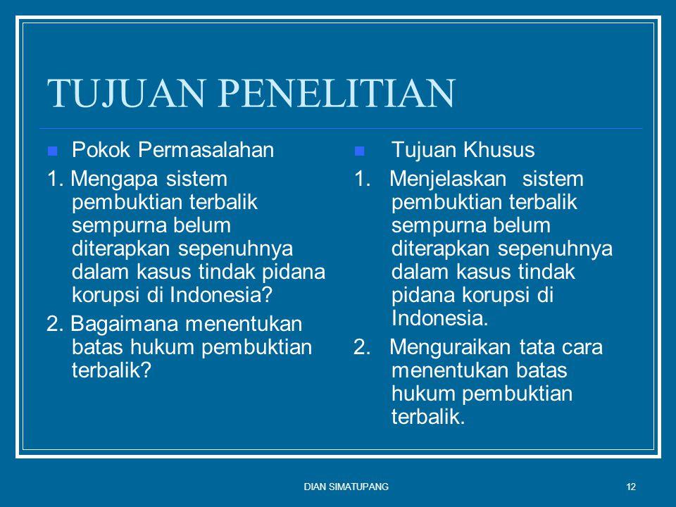 DIAN SIMATUPANG12 TUJUAN PENELITIAN Pokok Permasalahan 1.