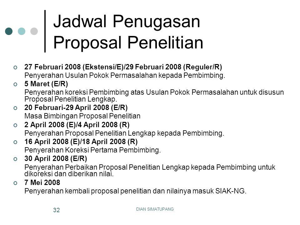 DIAN SIMATUPANG 32 Jadwal Penugasan Proposal Penelitian 27 Februari 2008 (Ekstensi/E)/29 Februari 2008 (Reguler/R) Penyerahan Usulan Pokok Permasalaha