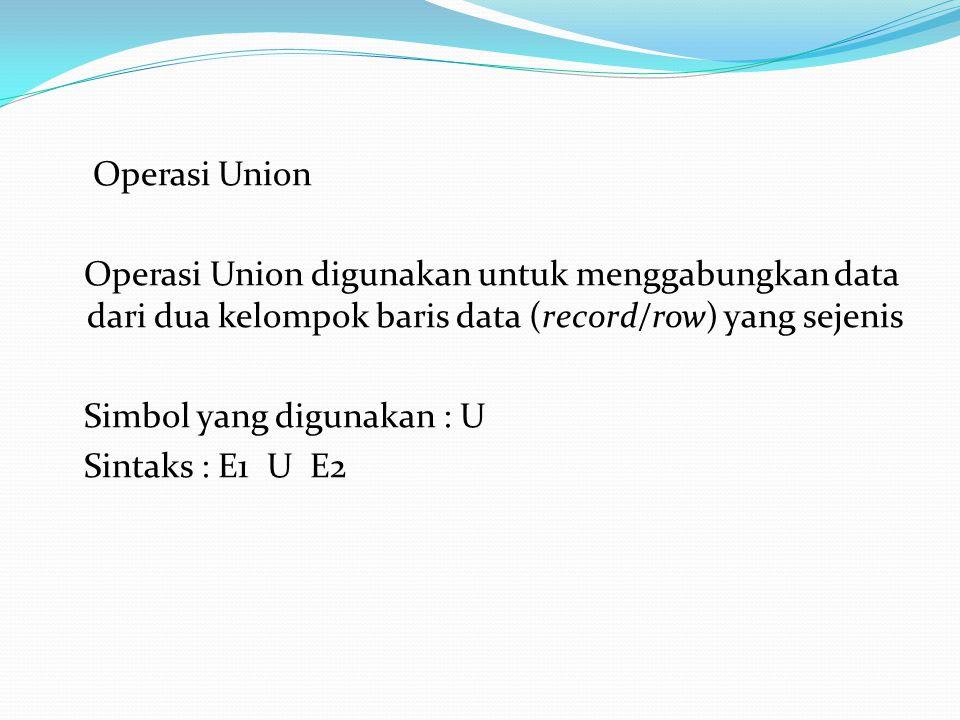 Operasi Union Operasi Union digunakan untuk menggabungkan data dari dua kelompok baris data (record/row) yang sejenis Simbol yang digunakan : U Sintak