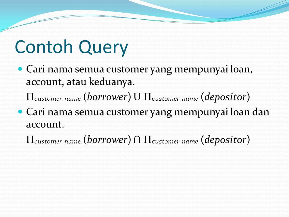 Contoh Query Cari nama semua customer yang mempunyai loan, account, atau keduanya. Π customer-name (borrower) U Π customer-name (depositor) Cari nama
