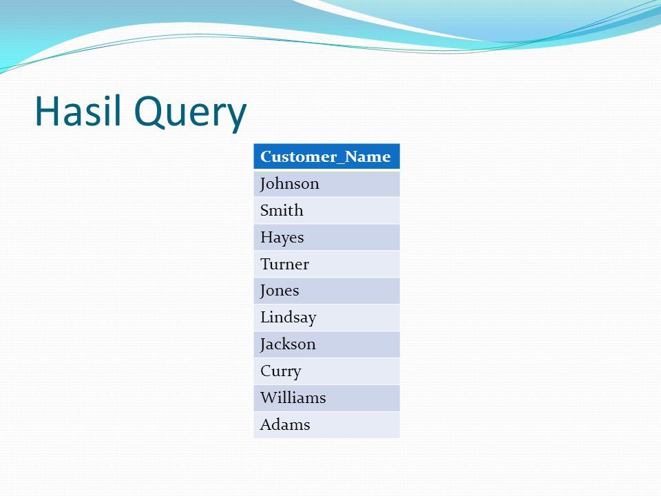 Hasil Query Customer_Name Johnson Smith Hayes Turner Jones Lindsay Jackson Curry Williams Adams