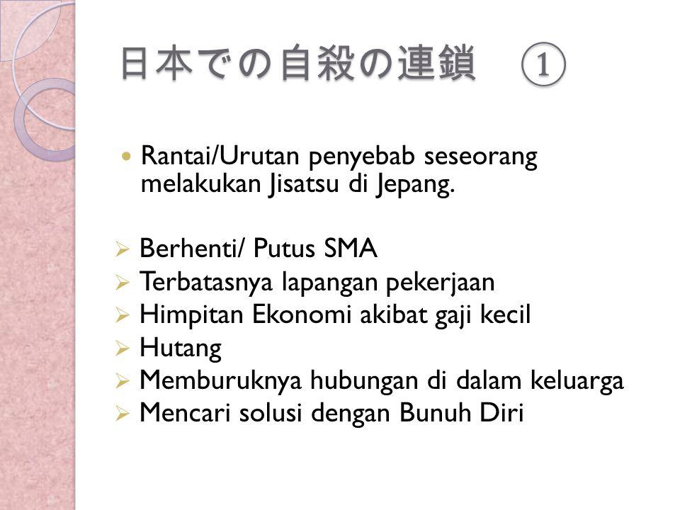 日本での自殺の連鎖 ① Rantai/Urutan penyebab seseorang melakukan Jisatsu di Jepang.  Berhenti/ Putus SMA  Terbatasnya lapangan pekerjaan  Himpitan Ekonomi ak