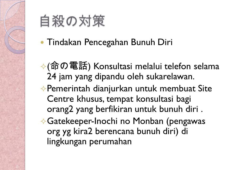 自殺の対策 Tindakan Pencegahan Bunuh Diri  ( 命の電話 ) Konsultasi melalui telefon selama 24 jam yang dipandu oleh sukarelawan.  Pemerintah dianjurkan untuk
