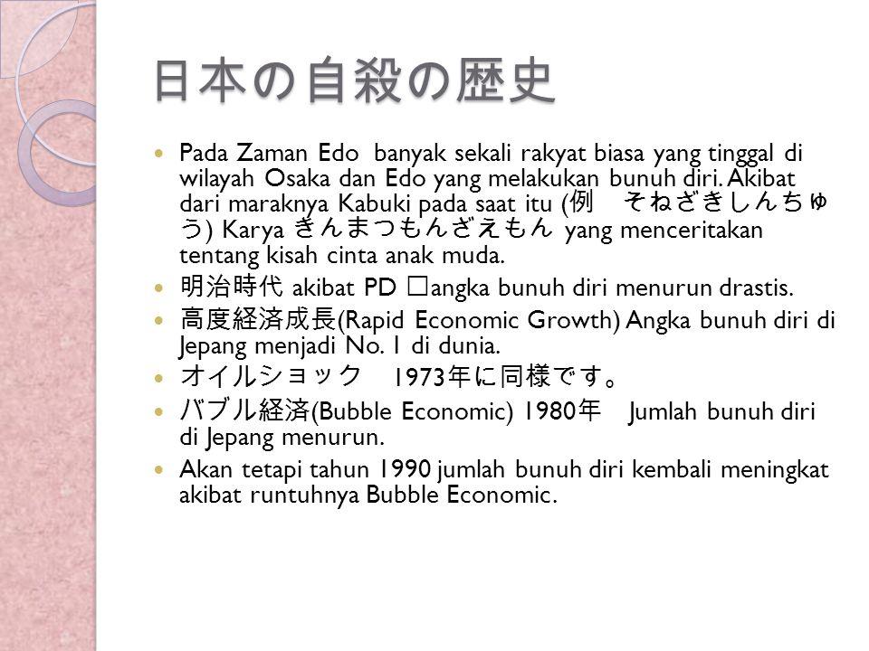 日本の自殺の歴史 Pada Zaman Edo banyak sekali rakyat biasa yang tinggal di wilayah Osaka dan Edo yang melakukan bunuh diri. Akibat dari maraknya Kabuki pada s