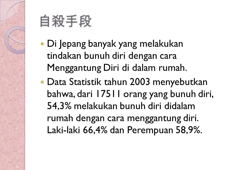 自殺手段 Di Jepang banyak yang melakukan tindakan bunuh diri dengan cara Menggantung Diri di dalam rumah. Data Statistik tahun 2003 menyebutkan bahwa, dar