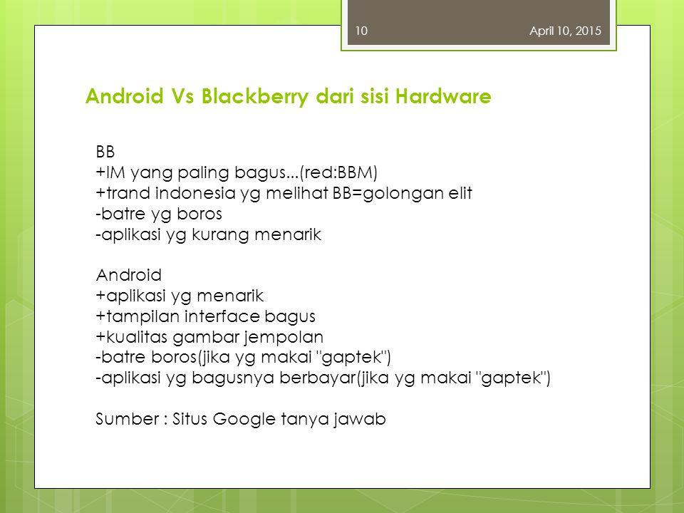 April 10, 20159 6. Aplikasi - Blackberry: BlackBerry memang memiliki segudang aplikasi, tapi di saat yang sama iPhone juga semakin jauh meninggalkan B