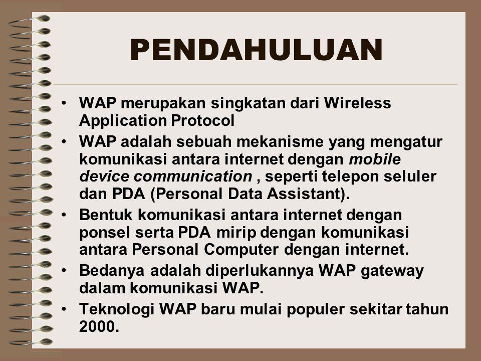 PENDAHULUAN WAP merupakan singkatan dari Wireless Application Protocol WAP adalah sebuah mekanisme yang mengatur komunikasi antara internet dengan mob