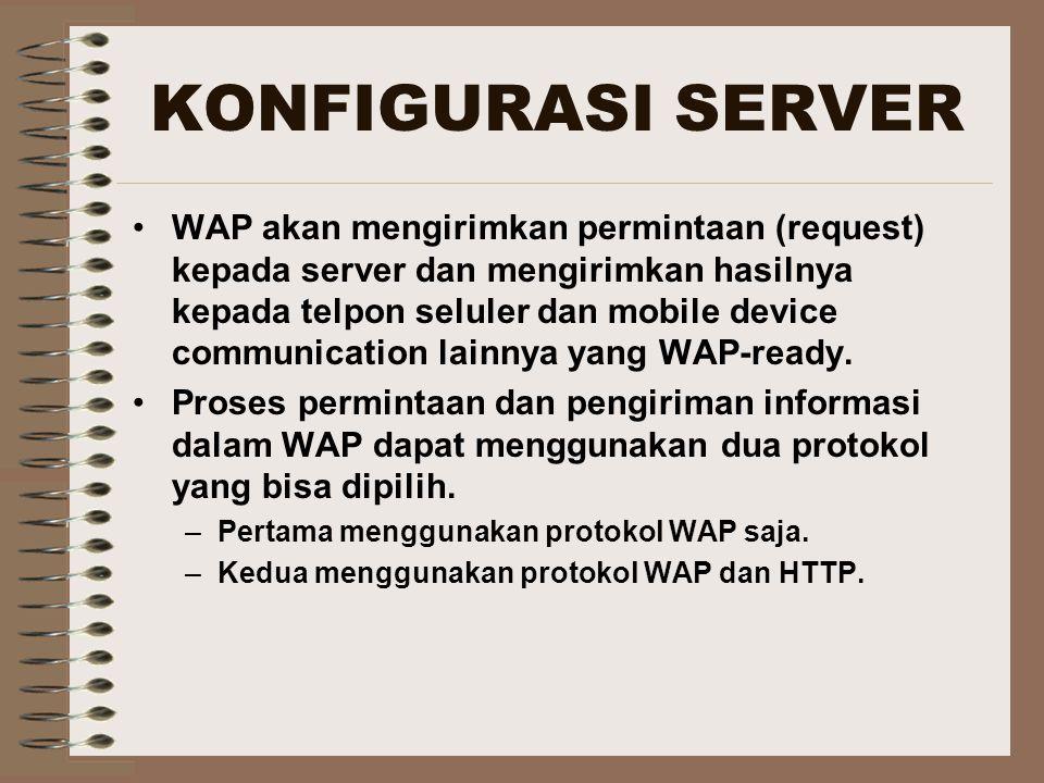 KONFIGURASI SERVER WAP akan mengirimkan permintaan (request) kepada server dan mengirimkan hasilnya kepada telpon seluler dan mobile device communicat