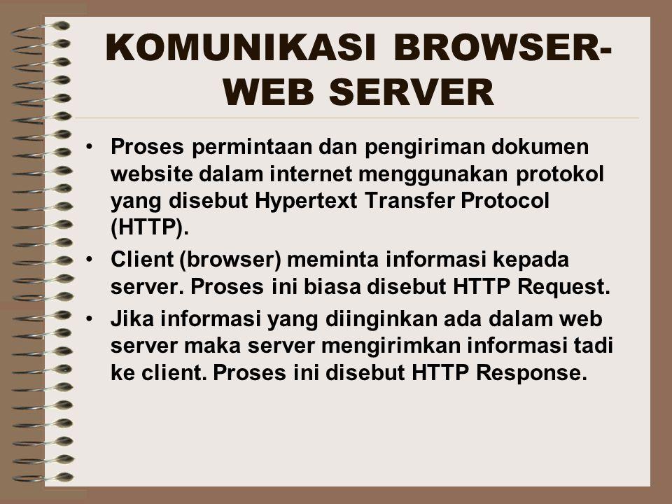 KOMUNIKASI BROWSER- WEB SERVER Proses permintaan dan pengiriman dokumen website dalam internet menggunakan protokol yang disebut Hypertext Transfer Pr