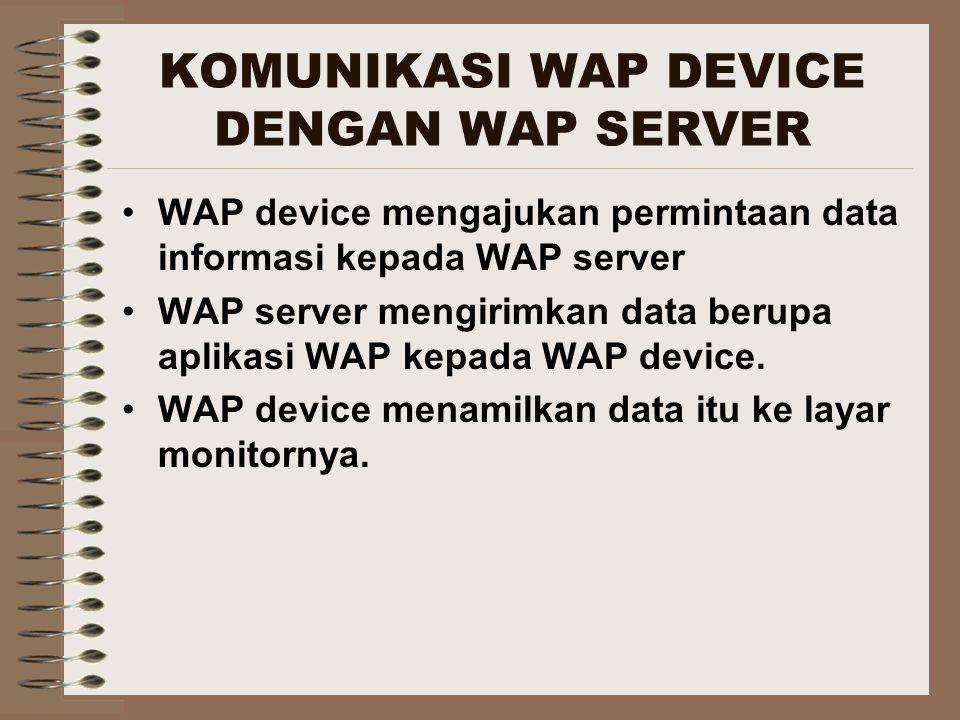 KOMUNIKASI WAP DEVICE DENGAN WAP SERVER WAP device mengajukan permintaan data informasi kepada WAP server WAP server mengirimkan data berupa aplikasi