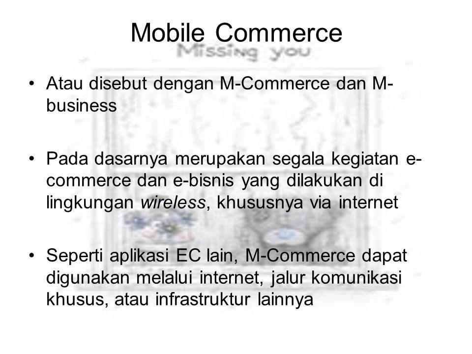 Mobile Commerce Atau disebut dengan M-Commerce dan M- business Pada dasarnya merupakan segala kegiatan e- commerce dan e-bisnis yang dilakukan di ling
