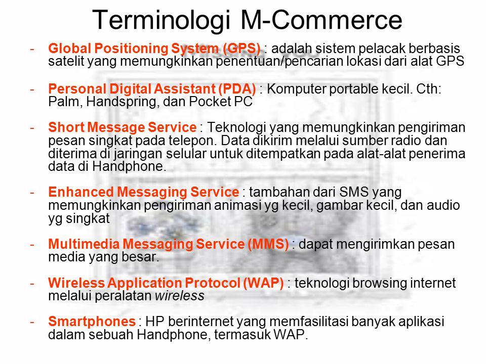 Terminologi M-Commerce -Global Positioning System (GPS) : adalah sistem pelacak berbasis satelit yang memungkinkan penentuan/pencarian lokasi dari ala