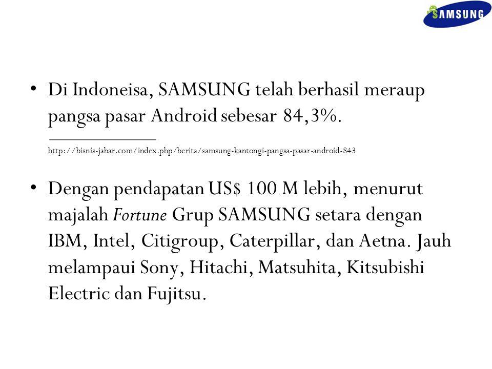 Di Indoneisa, SAMSUNG telah berhasil meraup pangsa pasar Android sebesar 84,3%. http://bisnis-jabar.com/index.php/berita/samsung-kantongi-pangsa-pasar