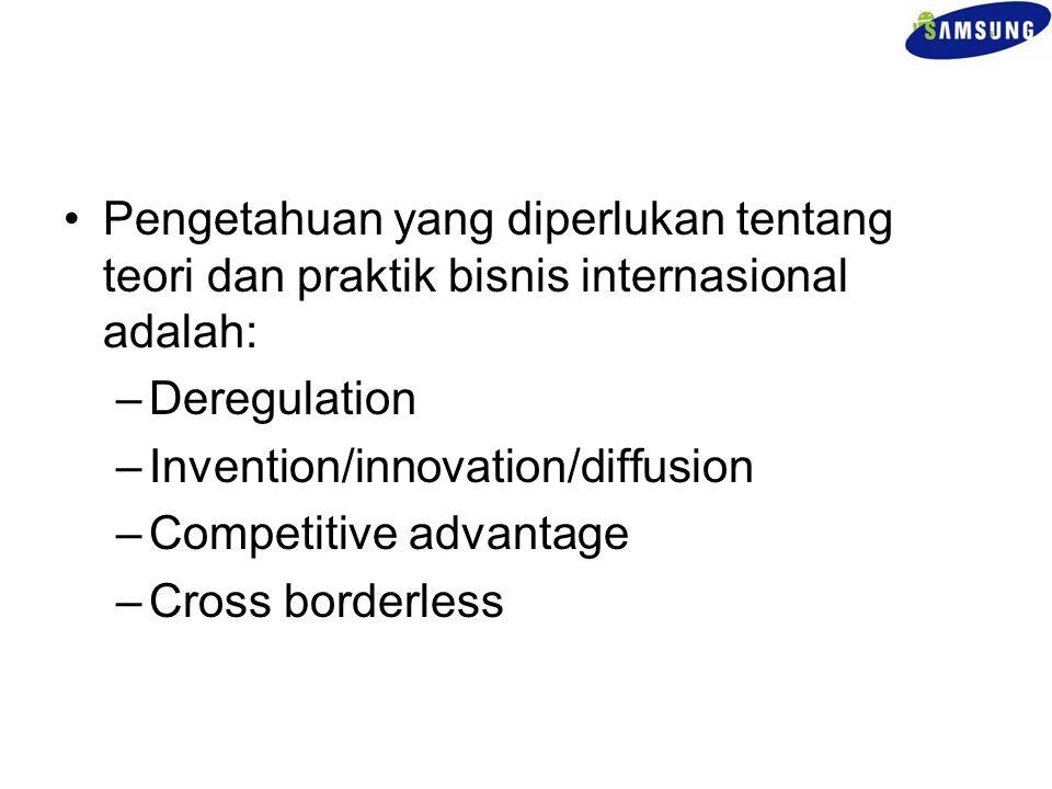 Pengetahuan yang diperlukan tentang teori dan praktik bisnis internasional adalah: –Deregulation –Invention/innovation/diffusion –Competitive advantag