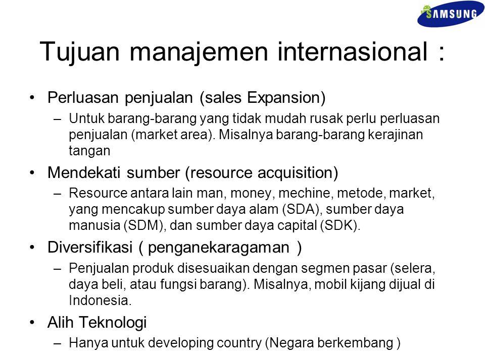 Tujuan manajemen internasional : Perluasan penjualan (sales Expansion) –Untuk barang-barang yang tidak mudah rusak perlu perluasan penjualan (market a