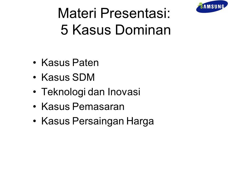 Materi Presentasi: 5 Kasus Dominan Kasus Paten Kasus SDM Teknologi dan Inovasi Kasus Pemasaran Kasus Persaingan Harga
