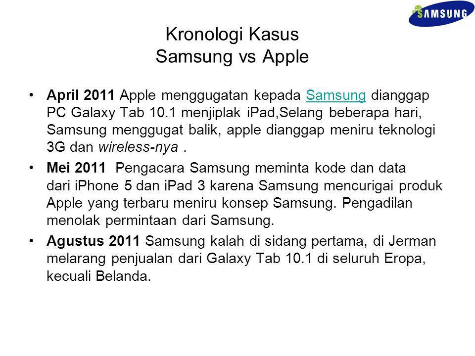 Kronologi Kasus Samsung vs Apple April 2011 Apple menggugatan kepada Samsung dianggap PC Galaxy Tab 10.1 menjiplak iPad,Selang beberapa hari, Samsung