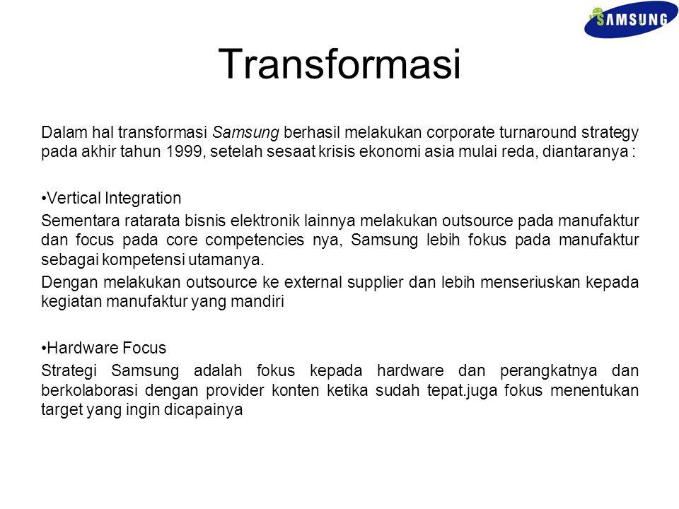 Transformasi Dalam hal transformasi Samsung berhasil melakukan corporate turnaround strategy pada akhir tahun 1999, setelah sesaat krisis ekonomi asia