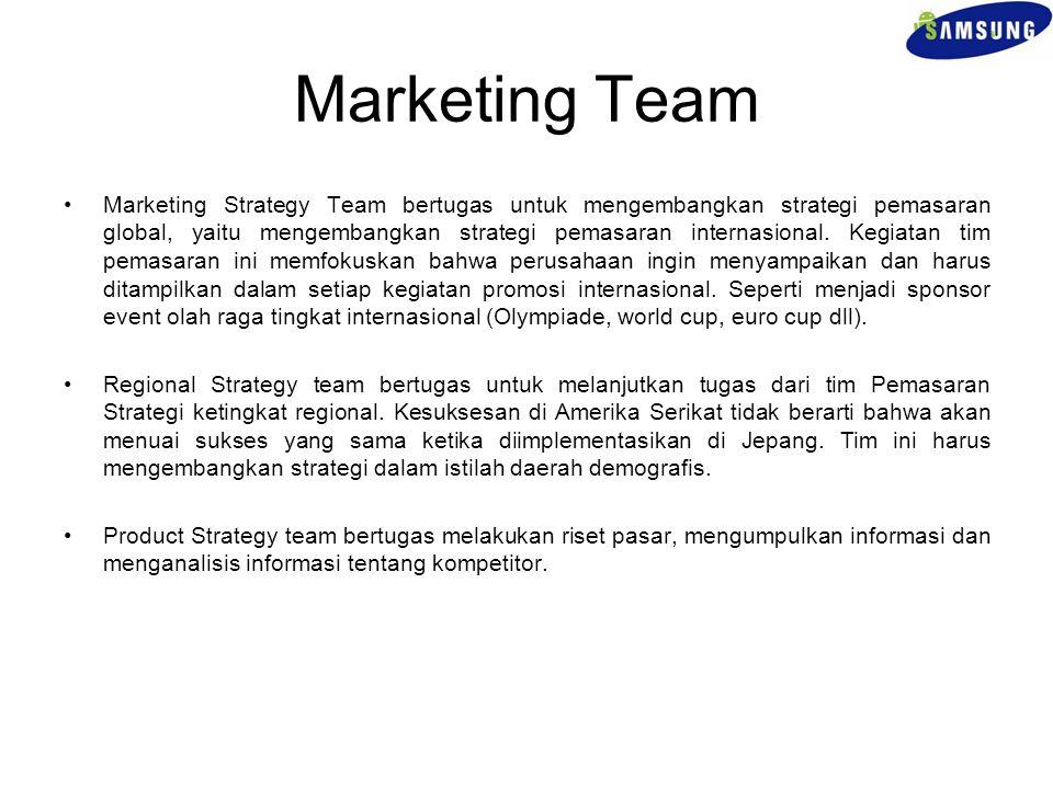 Marketing Team Marketing Strategy Team bertugas untuk mengembangkan strategi pemasaran global, yaitu mengembangkan strategi pemasaran internasional. K
