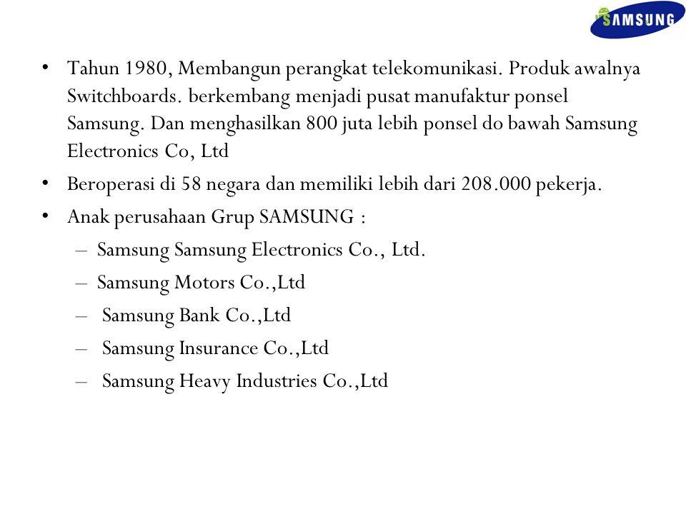 Tahun 1980, Membangun perangkat telekomunikasi. Produk awalnya Switchboards. berkembang menjadi pusat manufaktur ponsel Samsung. Dan menghasilkan 800