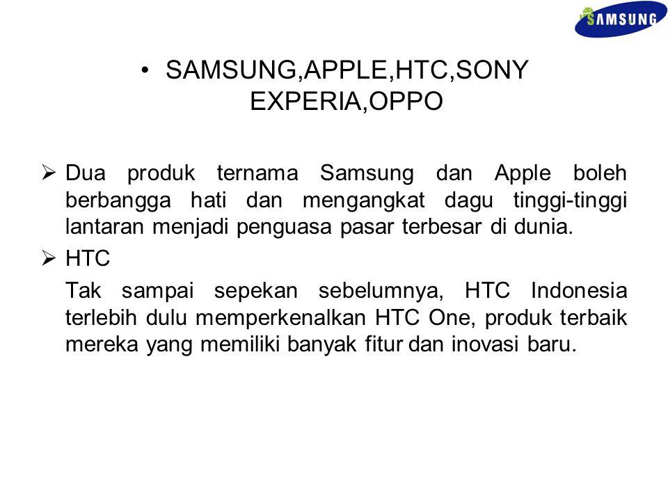 SAMSUNG,APPLE,HTC,SONY EXPERIA,OPPO  Dua produk ternama Samsung dan Apple boleh berbangga hati dan mengangkat dagu tinggi-tinggi lantaran menjadi pen