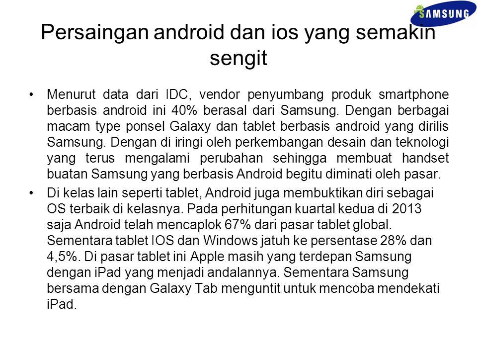 Persaingan android dan ios yang semakin sengit Menurut data dari IDC, vendor penyumbang produk smartphone berbasis android ini 40% berasal dari Samsun