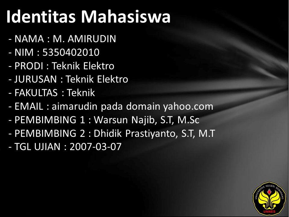 Judul APLIKASI SMS GATEWAY UNTUK SISTEM INFORMASI KHS (KARTU HASIL STUDI) MAHASISWA JURUSAN TEKNIK ELEKTRO UNIVERSITAS NEGERI SEMARANG