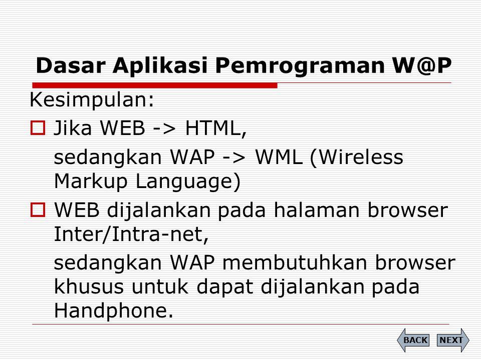 Dasar Aplikasi Pemrograman W@P NEXTBACK Kesimpulan:  Jika WEB -> HTML, sedangkan WAP -> WML (Wireless Markup Language)  WEB dijalankan pada halaman