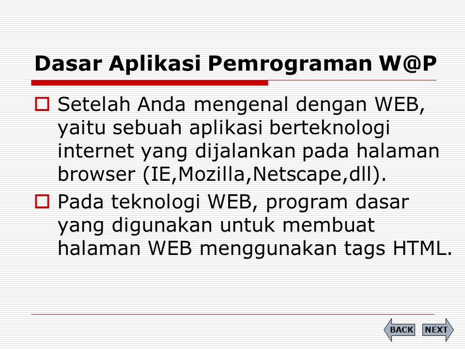 Dasar Aplikasi Pemrograman W@P NEXTBACK  Setelah Anda mengenal dengan WEB, yaitu sebuah aplikasi berteknologi internet yang dijalankan pada halaman b