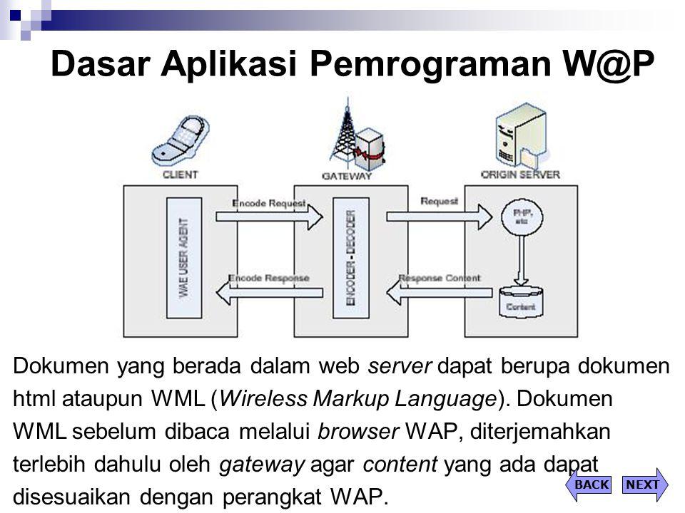 Dasar Aplikasi Pemrograman W@P Dokumen yang berada dalam web server dapat berupa dokumen html ataupun WML (Wireless Markup Language). Dokumen WML sebe