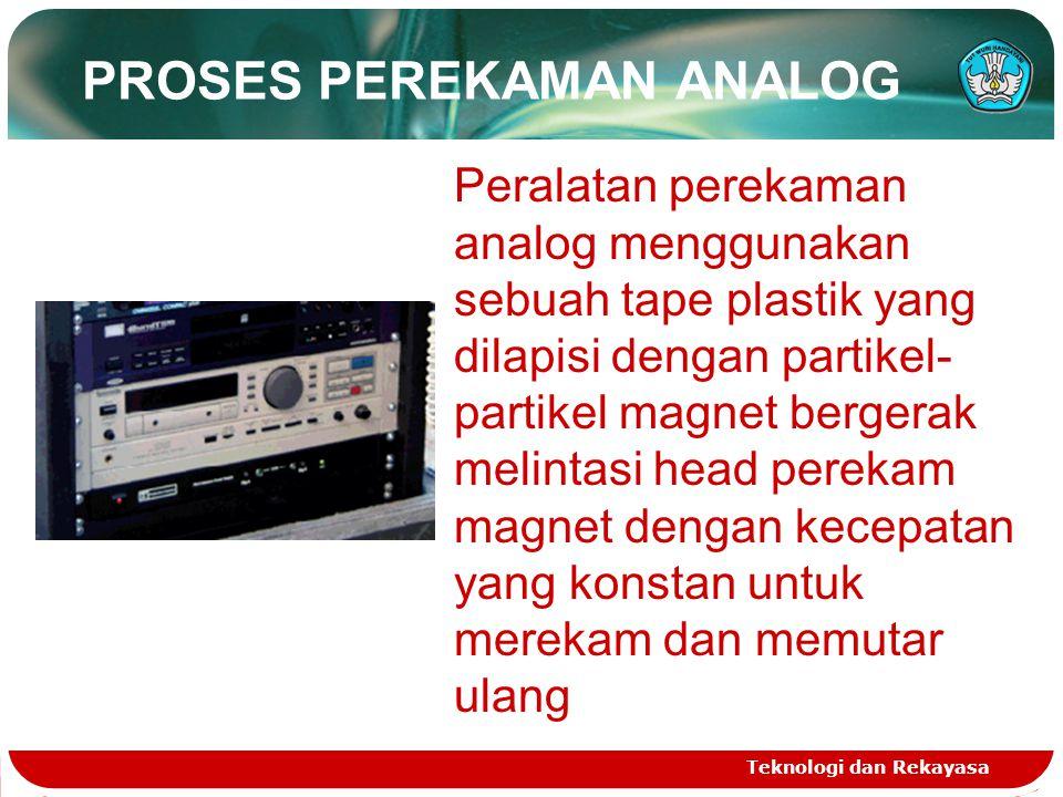 PROSES PEREKAMAN ANALOG Teknologi dan Rekayasa Peralatan perekaman analog menggunakan sebuah tape plastik yang dilapisi dengan partikel- partikel magnet bergerak melintasi head perekam magnet dengan kecepatan yang konstan untuk merekam dan memutar ulang