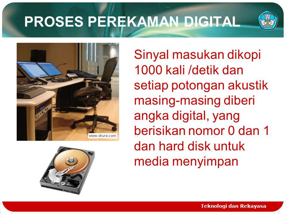 PROSES PEREKAMAN DIGITAL Teknologi dan Rekayasa Sinyal masukan dikopi 1000 kali /detik dan setiap potongan akustik masing-masing diberi angka digital, yang berisikan nomor 0 dan 1 dan hard disk untuk media menyimpan