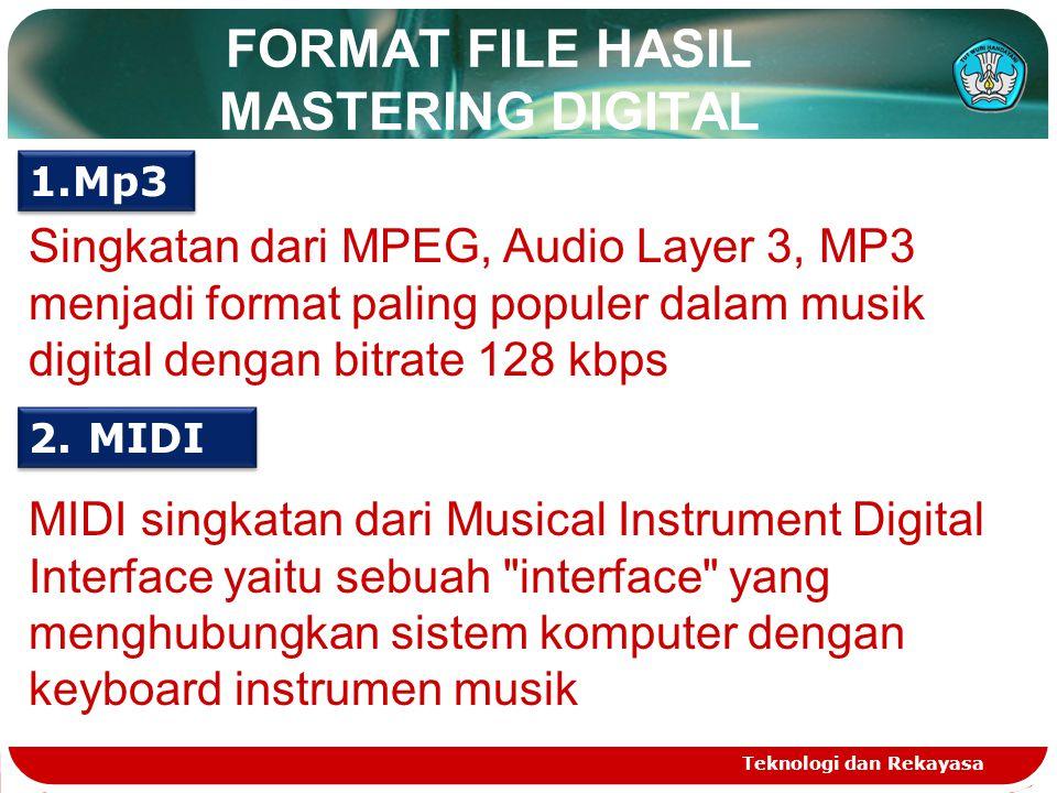 FORMAT FILE HASIL MASTERING DIGITAL Teknologi dan Rekayasa 1.Mp3 Singkatan dari MPEG, Audio Layer 3, MP3 menjadi format paling populer dalam musik digital dengan bitrate 128 kbps 2.MIDI MIDI singkatan dari Musical Instrument Digital Interface yaitu sebuah interface yang menghubungkan sistem komputer dengan keyboard instrumen musik