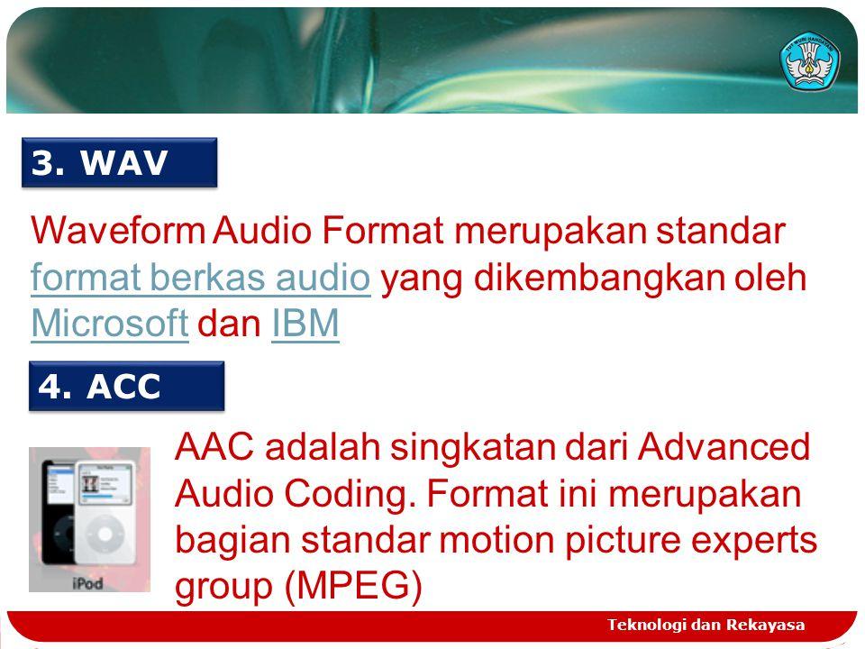 Teknologi dan Rekayasa Waveform Audio Format merupakan standar format berkas audio yang dikembangkan oleh Microsoft dan IBM format berkas audio MicrosoftIBM 3.WAV 4.ACC AAC adalah singkatan dari Advanced Audio Coding.